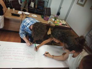 Young people doing a silent brainstorming exercise about culture