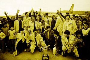 Picture 7. The team and supporters of KK Jugoplastika upon returning to Split in 1989 with the European champion's trophy